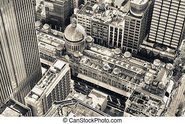 compras, alrededor,  cbd, famoso, alameda,  Sydney, aéreo, vista