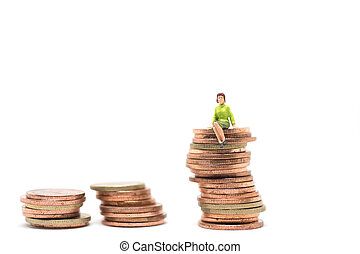Concept of success finacial. Woman sitting on stack of coin.