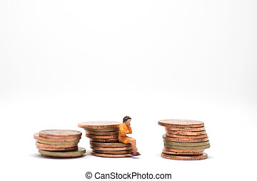 Thinking woman sitting on coin stack - Concept of business...