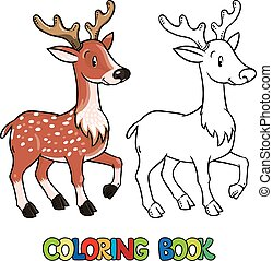 Coloring book of lttle funny young deer or fawn - Coloring...