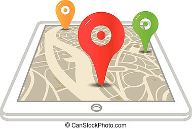 Modern gadget with abstract city map and color pionters