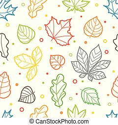 Different color leaves silhouettes seamless pattern