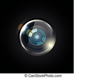 Modern optic camera vector illustration
