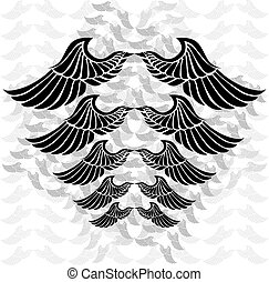 Wings - Illustration of a pair of wings in different sizes...