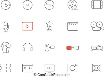Different lineart media icons set. Vector design elements