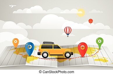 Travel vector illustration. Vacation concept with the car