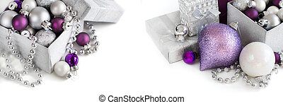 Silver and purple Christmas ornaments on a white background