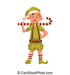 Christmas elf with a candy cane