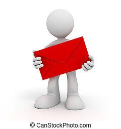 man holding envelope 3d illustration isolated on white...