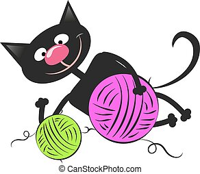 Black cat with a ball of wool