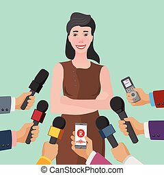 business interview concept - smiling young woman and many...