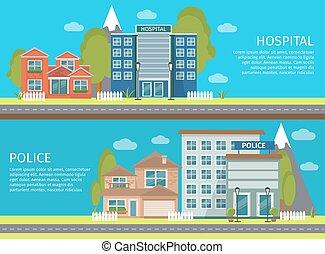 Colorful Flat Building Banner Set
