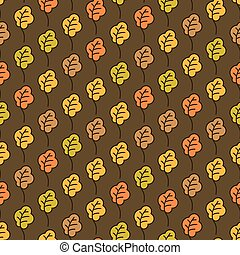 Funny autumn oak leaves seamless pattern. Autumn background