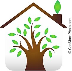 Eco house design - Eco House design, tree leaves under the...