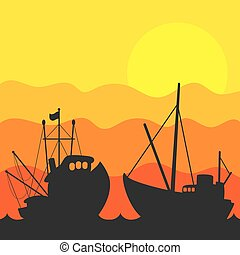 Fishing boat sunset vector - Silhouettes of fishing boats on...
