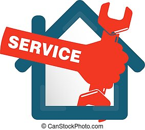 Repairs in the house symbol business, spanner in hand