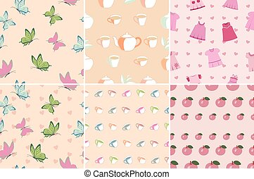 Set of seamless patterns in pink - Set of seamless patterns...