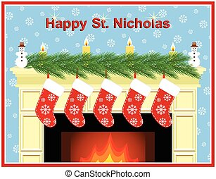 Fireplace on the day of St.Nicholas - Festive fireplace with...