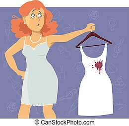 Ruined dress - Upset woman looking at a wine stain on a...