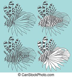 Set of illustrations with lionfish. - Vector set of...