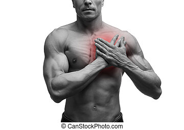 Heart attack, middle aged muscular man with chest pain...