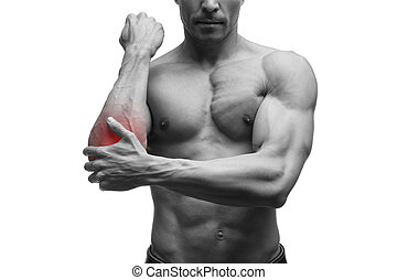 Pain in the elbow, muscular male body, isolated on white...