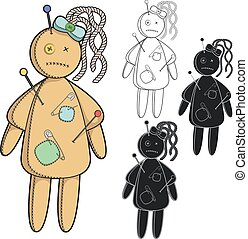 Set of images with a voodoo doll. - Vector set of images...