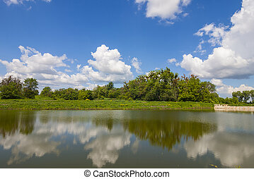 Lake mirror like with dramatic blue sky with clouds