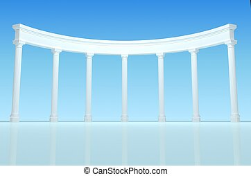 Illustration of the colonnade - 3D illustration of a white...