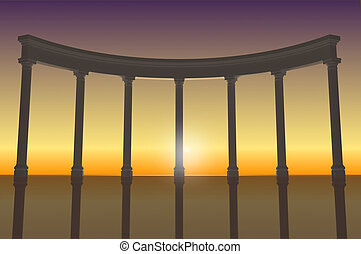 Illustration of the colonnade 2 - 3D illustration of a white...