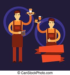 Two Waiter Hold Cup Coffee Barista Work Place Cafe Flat...