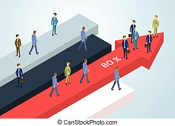 Business People Group Standing Financial Arrow Businesspeople Team Success Concept Growth Chart