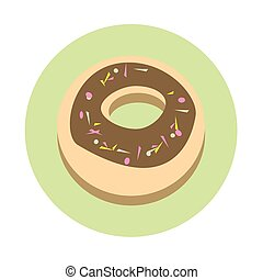 Donut Cake Dessert Sweet Food Icon Flat Vector Illustration