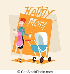 Happy Mother With Baby Newborn Pram