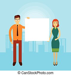 Asian Business Man Woman Hold Empty Banner Copy Space City Background
