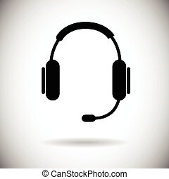 Headphones Web Icon Black Earphones Flat Vector Illustration
