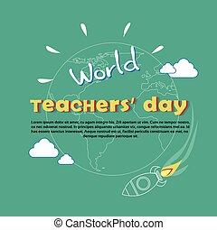 International Teacher Day World Holiday Banner Flat Vector...