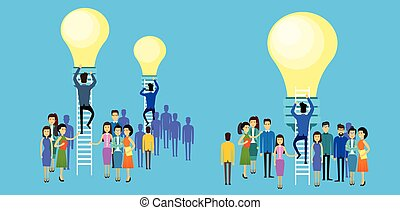 Asian Business People Group Businessman Climb Up Ladder Stairs To Light Bulb New Idea Concept