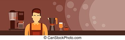 Coffee Barista Work Place Cafe Man Copy Space Horisontal...