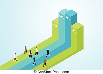 Business People Group Standing Financial Bar Growing Up Businesspeople Team Success Concept Growth Chart