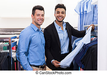 Two Handsome Business Man Fashion Shop, Happy Smiling Mix...