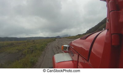 Off-road jeep riding - Valley near Bromo volcano , Java ,...