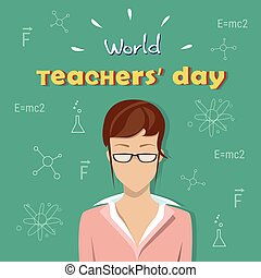 International Teacher Day Holiday Woman Over Board Sketch...