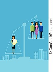 Asian Business People Group On Balance Scale
