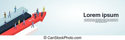 Business People Group Standing Financial Arrow Businesspeople Team Success Concept Growth Chart Banner Copy Space