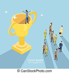 Happy Business Man Stand On Prize Winner Cup, Businesspeople Congradulating Success Concept 3d Isometric Design