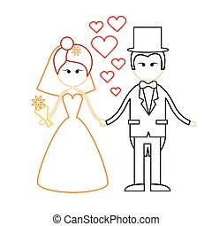 Cartoon Marriage Couple Fiance And Bride Wear Wedding Dress Holding Hands