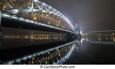 Timelapse of Peter the Great or Bolsheohtinskiy Bridge in...