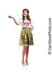 Beautiful woman in traditional bavarian dress, studio shot,...