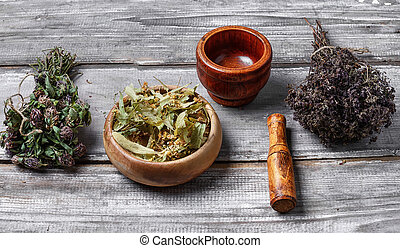 Healing medicinal plants - Dried healing plants on wooden...